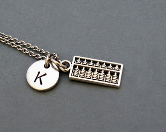 Abacus necklace, Abacus charm, antique silver, initial necklace, initial hand stamped, personalized, monogram