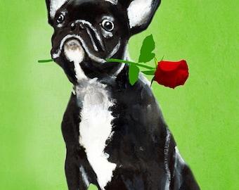 Animal painting portrait painting  Giclee Print Acrylic Painting Illustration Print wall art wall decor Wall Hanging: Bulldog king with rose