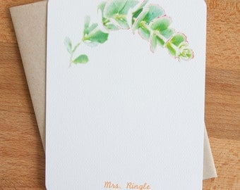 Personalized Stationery / Custom Notecards / Green Succulent Cards / Stationery Set / Stationary Set