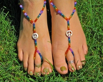 Rainbow Peace Sign Barefoot Sandals, Slave Anklet, foot thong, ankle bracelet with toe ring