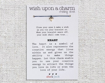 HEART - Wish Bracelet - Sterling Silver Charm - Waxed Irish Linen - Choose Your Own Color
