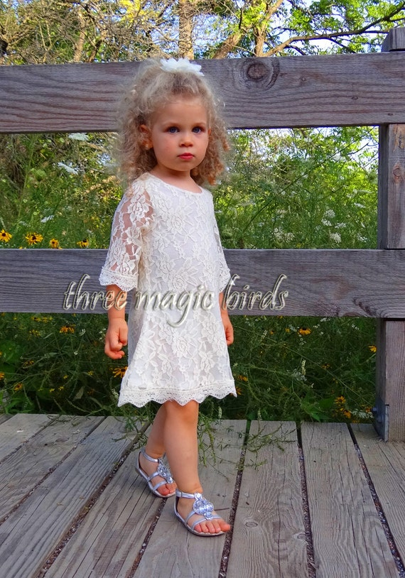 flower girl dress lace girl dresses rustic fall wedding. Black Bedroom Furniture Sets. Home Design Ideas