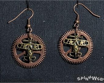Airship Pirates Earrings -  Steampunk, gear, copper, plane pendant, bronze, handmade, metal - 4,5 cm