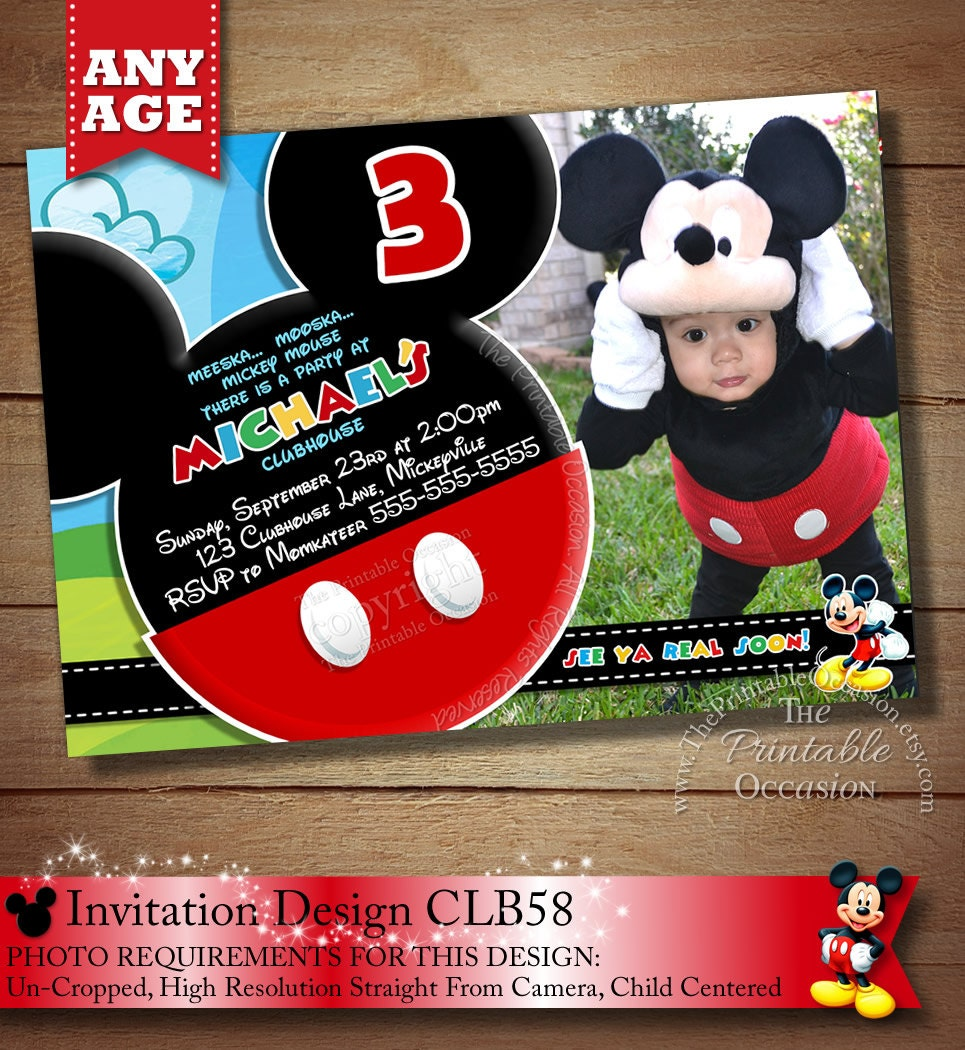 HUGE SELECTION Mickey Mouse Invitation Mickey Birthday – Personalized Mickey Mouse Birthday Invitations
