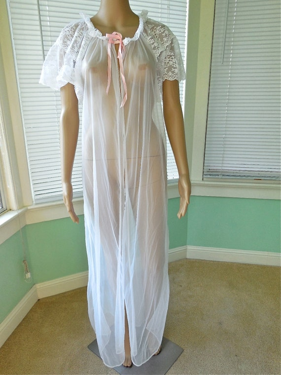 Vintage Sheer White Lace Chiffon Robe Lingerie Frilly Long