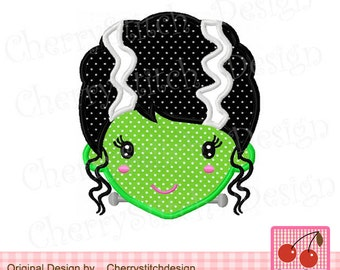 Halloween Frankensteins Bride 02- 4x4 5x7 6x10 hoop-Halloween Frankensteins Machine Embroidery Applique Design