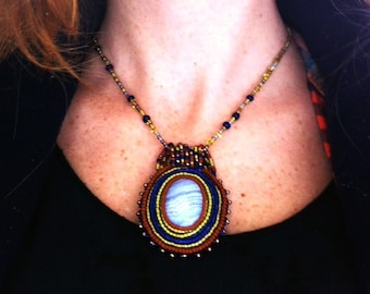 The Sky Inside- Hand- Beaded Blue Lace Agate Pendant Necklace