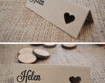 9 Pretty Place Names - Kraftpaper with heart