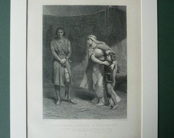 1883 Antique Shakespeare Print - Victorian Engraving - English Decor - Antique English Art - Theater Gift - William Shakespeare - King John