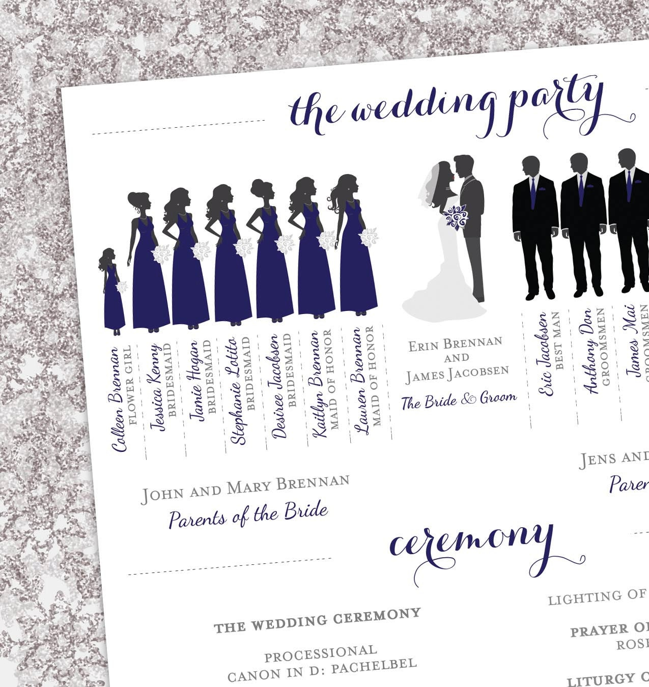 Winter Wedding Program Bridal Party Silhouettes Digital