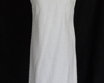 SUMMER SALE!!! 1960s Dress & Jacket / White MOD Polka Dot Textured Shift Mini Dress and Jacket / Courthouse Wedding