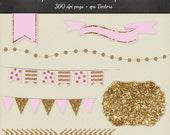 Gold Glitter Clipart Vector 8 Piece Pack - 6 Designs PNG Files & EPS Vectors - Smashbook Project Life Printable desgn elements