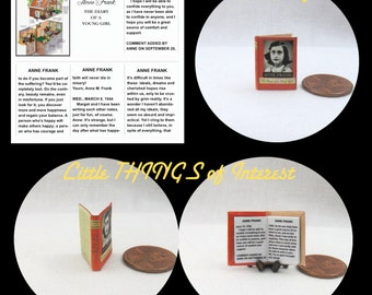 Miniature Book -- ANNE FRANK DIARY Of A Young Girl Miniature Book Dollhouse 1:12 Scale Readable