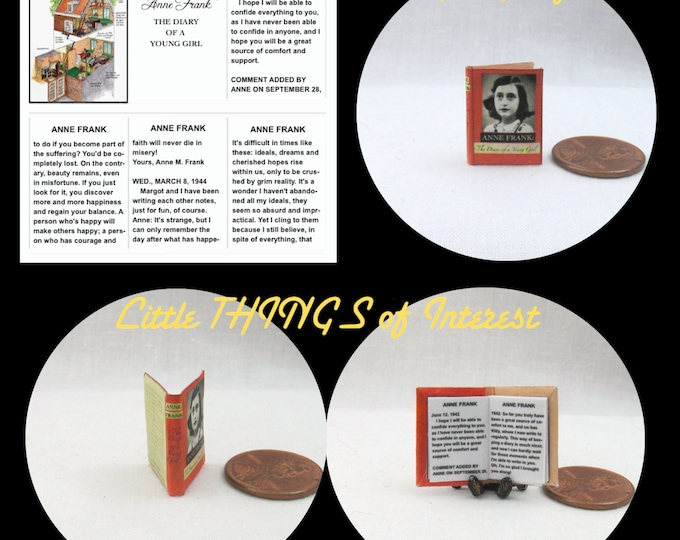 ANNE FRANK DIARY Of A Young Girl Miniature Book Dollhouse 1:12 Scale Readable World War 2 Natzi Germany Jewish