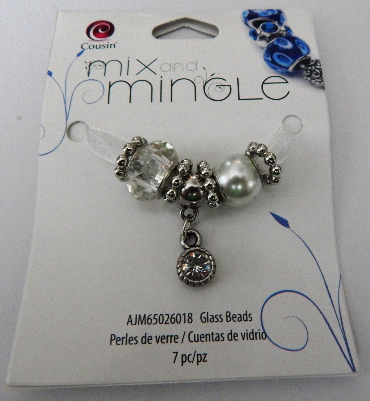 mix and mingle white glass with a dangle charm