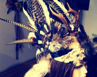 Deer Antler Headdress, Stag King, Barbarian Costume, Viking Warrior Costume, King Headdress, Wearable Art, Fur Headpiece, Burning Man