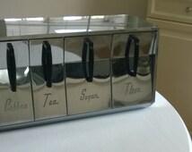 Retro Chrome Dry Goods 1950's Diner Kitchen Counter Storage --- Vintage Futuristic Coffee Tea Sugar Flour --- Housewarming Gift New House