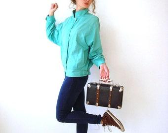 Mint green vintage jacket, women bomber jacket, windbreaker, size M