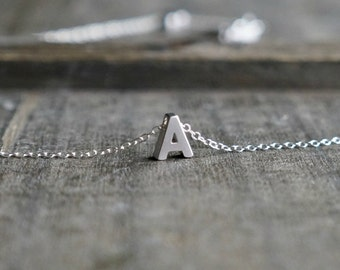 Silver Initial Necklace / Tiny Letter Pendant Personalized Sterling Silver Chain ... choose your name initial letter