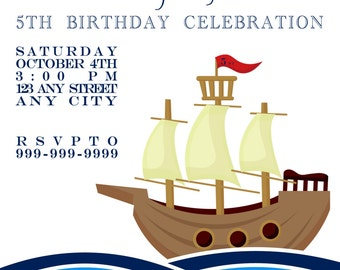 5x7 Nautical Pirate Ship Sailing in the Ocean Birthday Party Invitations