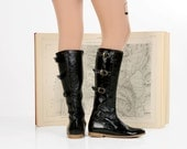 Black patent leather womens boots, knee high handmade dress boots, free shipping