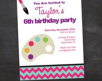 Children's Art/Painting Birthday Party -  Custom Printable Invitation
