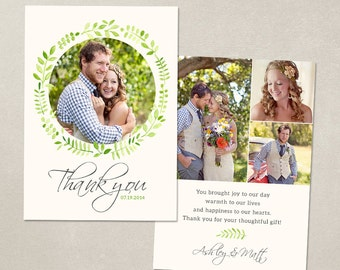 Wedding Thank You Card  - Template for Photographers PSD Flat card - Watercolor Laurel CT003