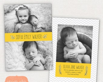 Birth Announcement Template - Vibrant Chevron CB036 - for Photographers PSD frame