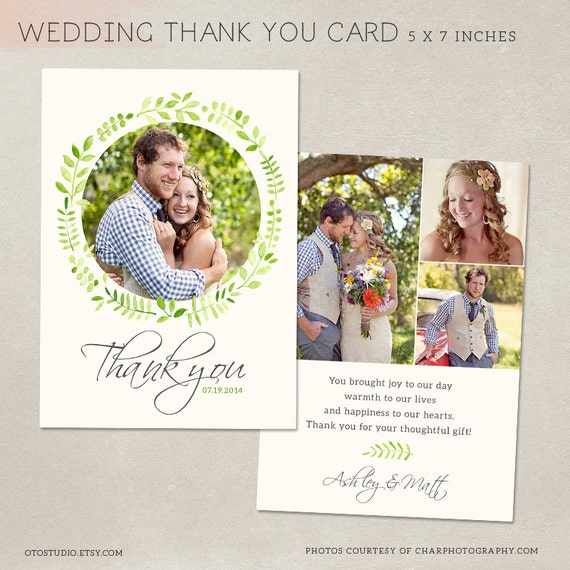 Wedding Thank You Card Template For Photographers PSD Flat