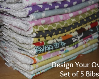 DESIGN YOUR OWN - Set of 5 Baby/Toddler Chenille Bibs - You Choose Your Fabric