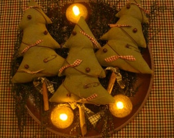 Primitive Rustic Christmas Tree Ornies/Tucks Set of 3