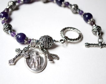 Saint Peregrine Amethyst Rosary Bracelet with Novena Booklet, Catholic Jewelry, Meaningful Gifts of Hope, Survivor Gifts