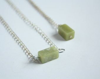 minimal jade necklace - ethical handmade jewelry - womans pendant - green stone