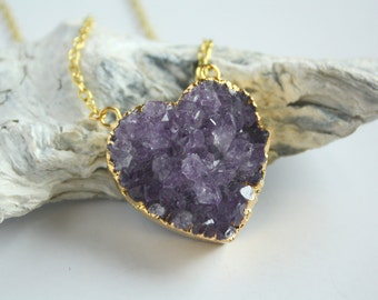 heart of amethyst necklace  - quartz geode gold plated pendant - womans jewelry - handmade