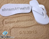 Custom Wedding Sandals for Beach Weddings -- Personalize Own Sand Design *Check size chart before ordering*
