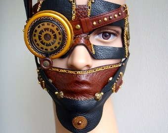 Steampunk Masquerade Mask, Monocle,  Feathers - The Sheerwood Bandit
