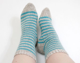 Striped socks, Light blue socks, Hand knit wool socks, Winter socks, Thick socks, Minimalist pastel socks, Wool socks, Gift for her