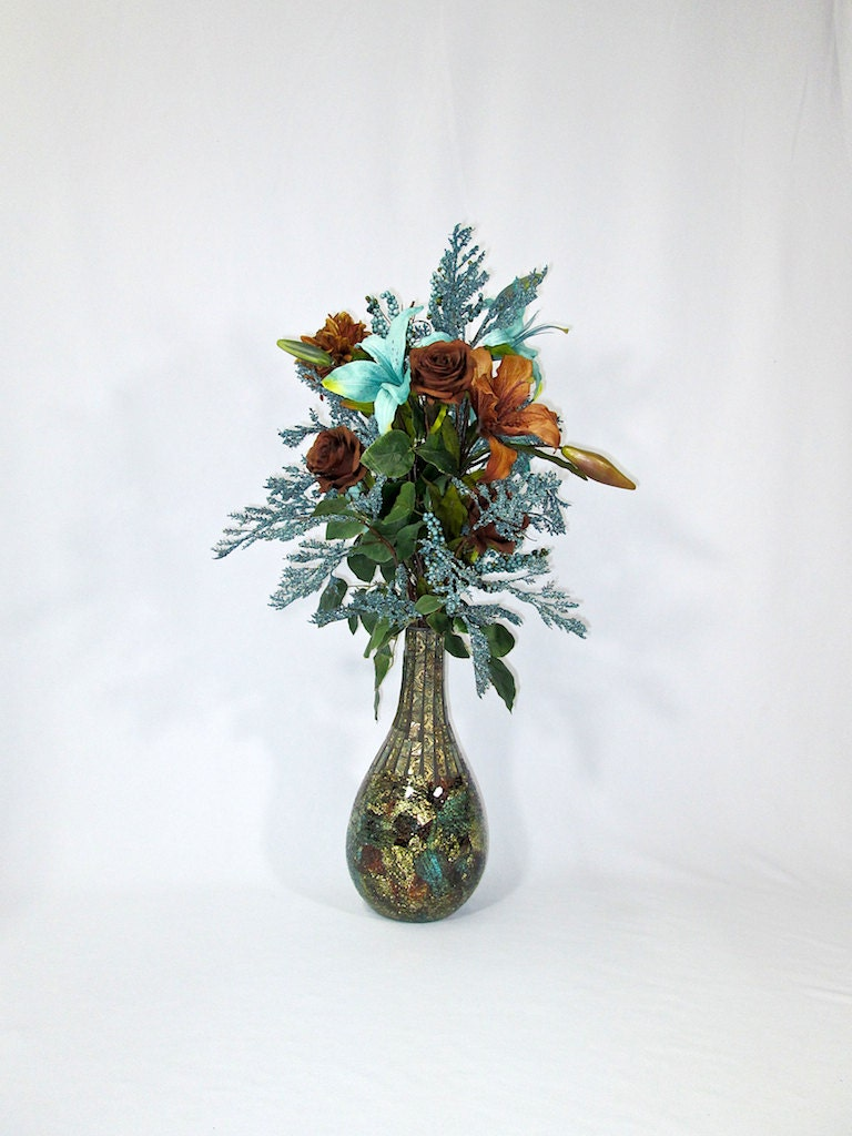 Tall Brown And Turquoise Silk Flower Arrangement In Crackled
