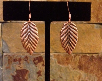 Antiqued Copper Small Leaf Earrings