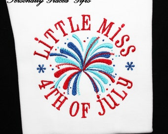 4th of July Patriotic Little Miss 4th of July with Fireworks Embroidered Shirt or Bodysuit for Kids