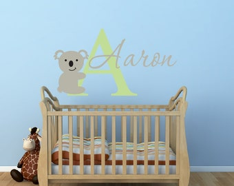 Koala Wall Decal - Boys Name Wall Decal - Baby Boy Nursery Wall Decal - Koala Name Wall Decal - Vinyl Wall Decal - Vinyl Lettering