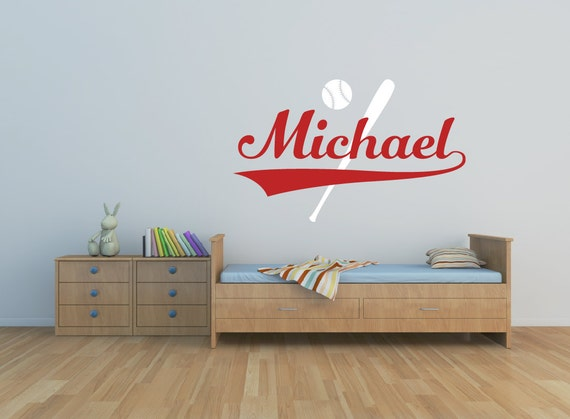 Baseball Wall Decal Boys Name Wall Decal Playroom Decor
