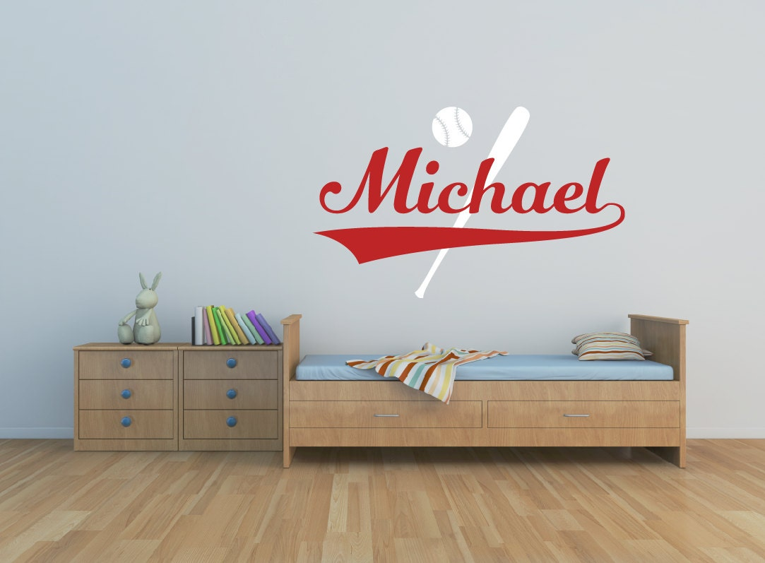 baseball wall decal boys name wall decal playroom decor. Black Bedroom Furniture Sets. Home Design Ideas