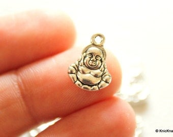 10 x Laughing Buddha Zinc Alloy Silver Tone Charms Pendants