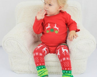 Christmas baby outfit ready to ship with Reindeer, Snowflakes, Hearts, tacky christmas,