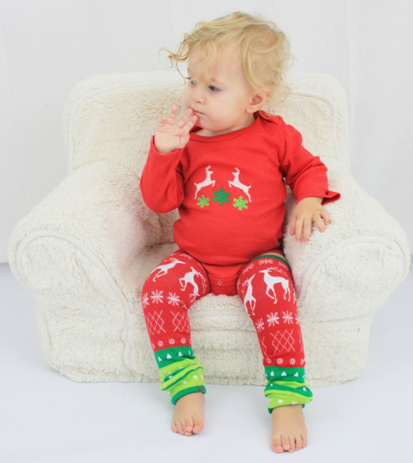 Baby Ugly Christmas Sweater Outfit With Reindeer By GigglePoo