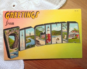 Vintage Postcard, Greetings From Virginia - 1940s Americana Paper Ephemera