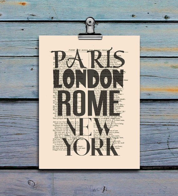 Paris London Rome New York Poster Print Typography By