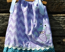 Custom Minnie Monsters Inc Boo Girl Pillowcase Dress.  Sizes 6m - 8y.  By Hoot n Hollar Childrens Clothing