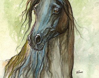 Framed original watercolour and pen painting of a black arabian horse